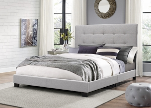 Florence Tufted Light Grey Panel Bed