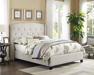 Eva Upholstered Panel Bed in Ivory