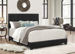 Erin Panel Bed in Black Leatherette